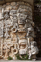 Masks of Chaac, God of the rain, The Grand Pyramid or Great Temple (Detail of Corner), commonly the Great pyramid, 8th century, reconstructed 1972-3, Puuc architecture, Uxmal late classical Mayan site, flourished between 600-900 AD, Yucatan, Mexico. Picture by Manuel Cohen