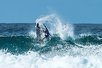 Snapper Rocks, Coolangatta Queensland Australia (Monday, March 14 2016): Kolohe Andino (USA) - Round Two of the first WCT event of the year, the Quiksilver Pro Gold Coast, was completed this morning followed by Round Three and two heats of Round Four.  The upsets continued with the Tour Rookies taking out out a good proportion of the heats with Stu Kennedy(AUS) again showing great form by defeating Gabriel Medina (BRA). The event was put on hold for over 2 hours while organisers waited for the tide to drop. The surf was in the 4'-5' range most of the day.Photo: joliphotos.com