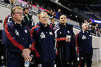 New England Revolution head coach Steve Nicol with assistant coach Stephen Myles, goalkeeper coach Remi Roy, and goalkeeper coach Glenn O'Connor. The New York Red Bulls defeated the New England Revolution 3-0 during a U. S. Open Cup qualifier round match at Red Bull Arena in Harrison, NJ, on May 12, 2010.