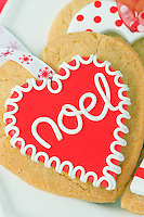 Special heart-shaped biscuits have been baked to hang on the Christmas tree