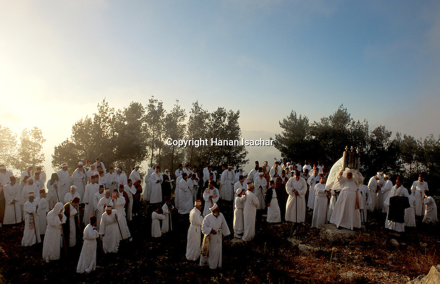 Samaria, Samaritan pilgrimage To Mount Gerizim done on Passover, Shavuot and Succot holidays, raising the Torah scrolls<br />
