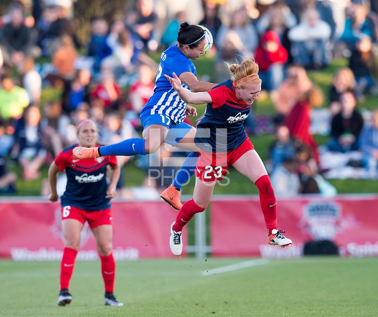 Boyds, MD - April 16, 2016: Boston Breakers midfielder Kyah Simon (17) and Washington Spirit defender Victoria Huster (23). The Washington Spirit defeated the Boston Breakers 1-0 during their National Women's Soccer League (NWSL) match at the Maryland SoccerPlex.