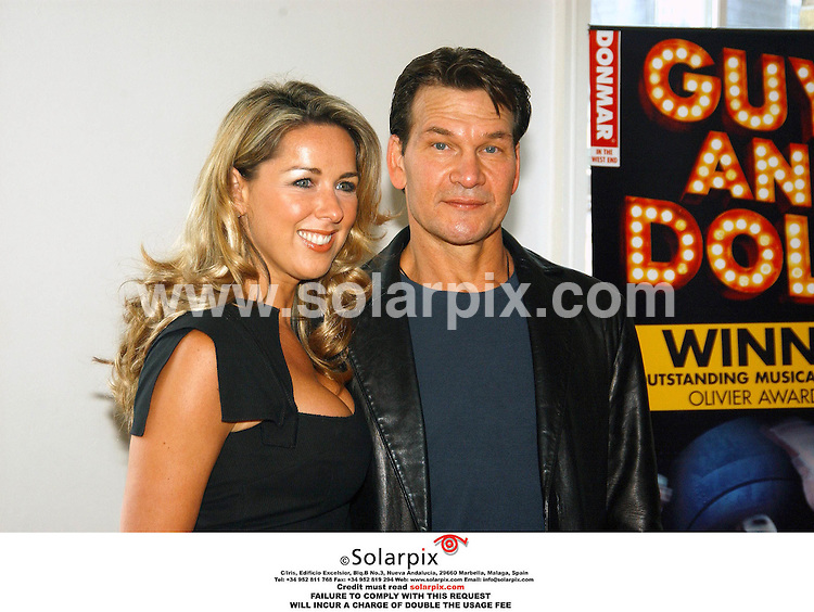 "ALL ROUND PICTURES BY SOLARPIX.COM.**MUST CREDIT CREDIT SOLARPIX.COM OR DOUBLE FEE WILL BE INCURRED**.American actor Patrick Swayze joins the cast for his London West End debut starring in the smash hit musical ""Guys and Dolls"". Starring with Patrick is Claire Sweeney..JOB REF: STN-2451 5.06.06"