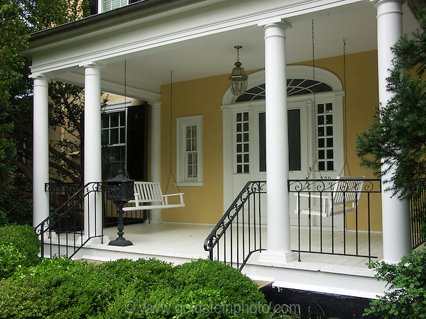 Porch and swings. Architectural details of homes and other buildings in Loudoun County area of Virginia.