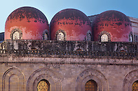 """Three Saracen-style, bulbous, red """"golfball"""" domes, Chiesa di San Cataldo (Church of San Cataldo, La Cataldo), 1154, Palermo, Sicily, Italy. The Romanesque church with Arab influences was founded by Maio of Bari, chancellor to William I, during the Norman occupation of Sicily. Picture by Manuel Cohen"""