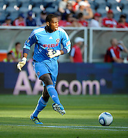 Chicago goalkeeper Sean Johnson (25) distributes the ball.  The Chicago Fire defeated Toronto FC 2-0 at Toyota Park in Bridgeview, IL on August 21, 2011.