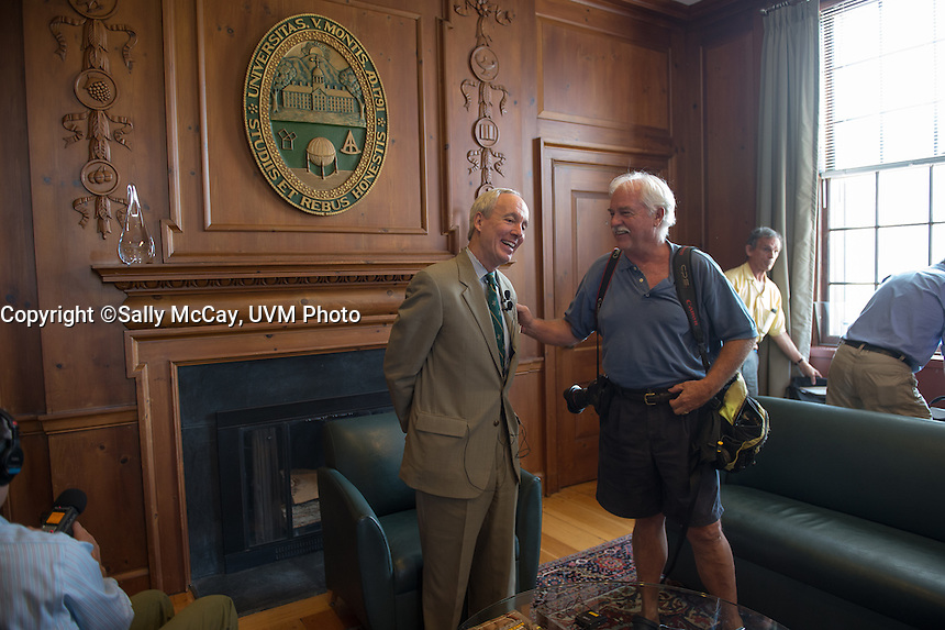 UVM President Tom Sullivan meets the press on his first day in office.