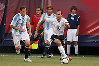 United States forward Landon Donovan (10). The men's national teams of the United States and Argentina played to a 0-0 tie during an international friendly at Giants Stadium in East Rutherford, NJ, on June 8, 2008.