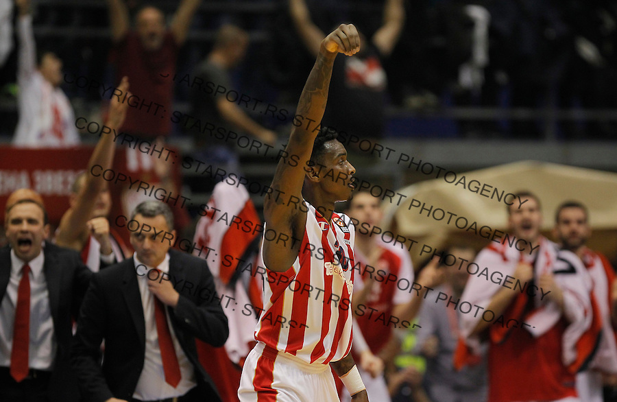 Kosarka Euroleague season 2015-2016<br /> Euroleague <br /> Crvena Zvezda v Real Madrid<br /> Quincy Miller (C) celebrate<br /> Beograd, 27.11.2015.<br /> foto: Srdjan Stevanovic/Starsportphoto &copy;