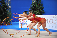 Rhythmic group from Australia perform 5-hoops routine at 2010 Pesaro World Cup on August 28, 2010 at Pesaro, Italy.  Photo by Tom Theobald.