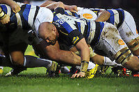 Matt Garvey of Bath Rugby in action at a scrum. Aviva Premiership match, between Leicester Tigers and Bath Rugby on November 29, 2015 at Welford Road in Leicester, England. Photo by: Patrick Khachfe / Onside Images