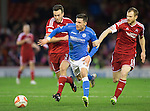 Aberdeen v St Johnstone...01.01.15   SPFL<br /> Michael O'Halloran gets between Andrew Considine and Mark Reynolds<br /> Picture by Graeme Hart.<br /> Copyright Perthshire Picture Agency<br /> Tel: 01738 623350  Mobile: 07990 594431