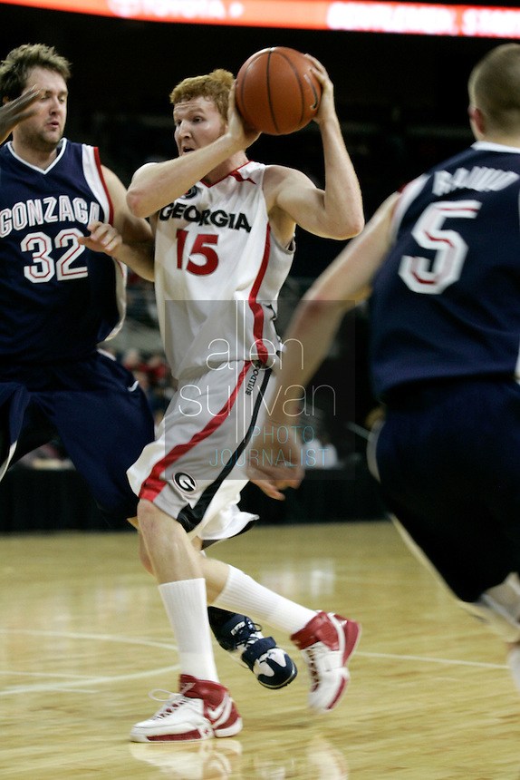 University of Georgia forward Steve Newman in a basketball game against Gonzaga University at The Arena at Gwinnett Center in Duluth, Ga. on Saturday, Dec. 16, 2006. Georgia won 96-83.<br />