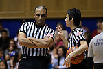 29 December 2015: Referees Billy Smith and Angel Stanton during a timeout. The Duke University Blue Devils hosted the Western Carolina University Catamounts at Cameron Indoor Stadium in Durham, North Carolina in a 2015-16 NCAA Division I Women's Basketball game.