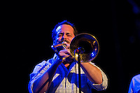 Aaron Johnson takes a trombone solo while Antibalas performs at Union Transfer in Philadelphia on December 13, 2012.