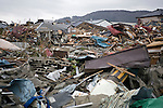 Photo shows the trail  of destruction left by the March 11 tsunami in Ishinomaki City, Miyagi Prefecture, Japan on 15 March, 2011. Photographer: Robert Gilhooly
