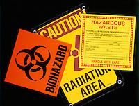 HAZARD SIGNS<br /> Biohazard, Radiation area, Hazardous waste