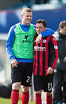 Dundee v St Johnstone...25.04.15   SPFL<br /> Brian Easton congratulates goal scorer Danny Swanson at full time<br /> Picture by Graeme Hart.<br /> Copyright Perthshire Picture Agency<br /> Tel: 01738 623350  Mobile: 07990 594431