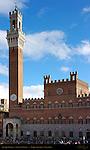 Palazzo Pubblico 14th c. Town Hall, Torre del Mangia, Cappella del Piazza, Piazza del Campo, Siena, Italy