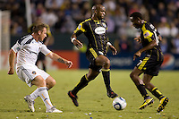 Columbus Crew forward Emilio Renteria moves with the ball looking for an open man. The LA Galaxy defeated the Columbus Crew 3-1 at Home Depot Center stadium in Carson, California on Saturday Sept 11, 2010.