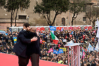 Rome, Italy. 30 January 2016<br /> Pictured: Pictured: Mario Adinolfi the director of the newspaper The Cross embraces Massimo Gandolfini, chairman of the committee 'We defend our children'.<br /> Thousands of demonstrators take part in the Family Day rally at the Circo Massimo in central Rome  in support of traditional family and to protest against a bill to recognize civil unions, including same-sex ones currently under examination at the Italian Parliament.