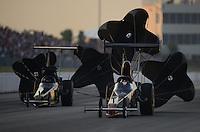 May 18, 2012; Topeka, KS, USA: NHRA top alcohol dragster driver James Thompson during qualifying for the Summer Nationals at Heartland Park Topeka. Mandatory Credit: Mark J. Rebilas-