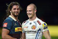 James Short of Exeter Chiefs has a laugh with Luke Wallace of Harlequins after the match. Aviva Premiership match, between Harlequins and Exeter Chiefs on April 14, 2017 at the Twickenham Stoop in London, England. Photo by: Patrick Khachfe / JMP