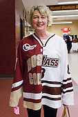 Denise Shea shows off a sweater honoring both sons, Edwin of BC and Colin of UMass. The Boston College Eagles defeated the visiting University of Massachusetts-Amherst Minutemen 4-1 in the opening game of their Hockey East Quarterfinals match up on Friday, March 11, 2011, at Conte Forum in Chestnut Hill, Massachusetts.