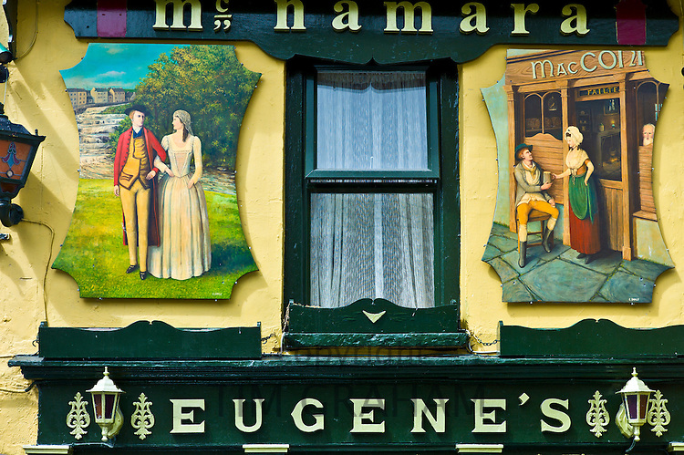 Historic murals at Eugene's traditional bar in Meltown Malbay, County Clare, West of Ireland