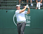 Scott Gutchewski tees off on the 1st hole at the PGA FedEx St. Jude Classic at TPC Southwind in Memphis, Tenn. on Thursday, June 9, 2011.