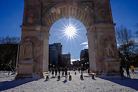 People enjoy a sunny day in Washington Square Park  after the pass of the winter storm JONAS, in New York, 01/24/2016. Photo by VIEWpress