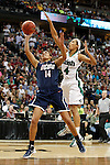 01 APRIL 2012:  Skylar Diggins (4) of the University of Notre Dame blocks the shot of Bria Hartley (14) of the University of Connecticut during the Division I Women's Final Four Semifinals at the Pepsi Center in Denver, CO.  Notre Dame defeated UCONN 83-75 to advance to the national championship game.  Jamie Schwaberow/NCAA Photos