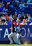 7 March 2010: Washington Nationals' shortstop Ian Desmond pulls in a pop foul during a Spring Training game against the New York Mets at Tradition Field in Port St. Lucie, Florida. The Mets edged out the Nationals 6-5 in Grapefruit League pre-season play. Mandatory Credit: Ed Wolfstein Photo