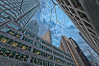 A view looking up from the street in downtown Toronto.