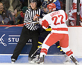 Bob Bernard, Rhett Bly (Merrimack - 27), Ross Gaudet (BU - 22) - The visiting Merrimack College Warriors tied the Boston University Terriers 1-1 on Friday, November 12, 2010, at Agganis Arena in Boston, Massachusetts.