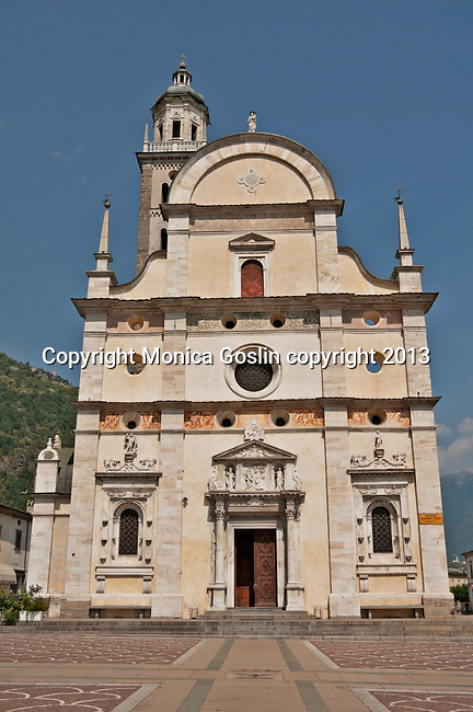Basilica della Madonna di Tirano church ifacade; the church is dedicated to the appearance of the Virgn to Mario Degli Omodei in 1504 and located in Tirano, Italy