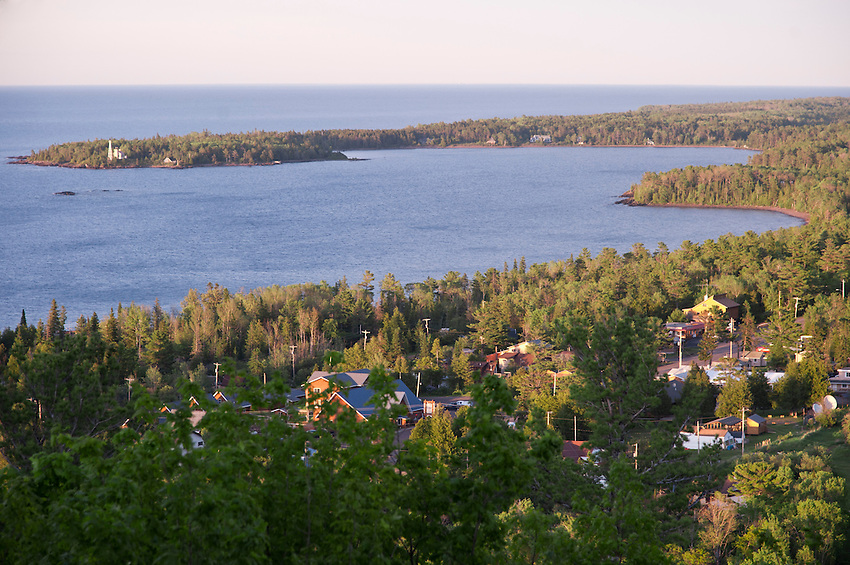 View of Copper Harbor Michigan and Lake Superior from Brockway Mountain overlook Michigan's Upper Peninsula.