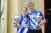 FIERLJEPPEN: GRIJPSKERK: 17-08-2013, 1e Klas wedstrijd, Lisanne en Age Hulder, ©foto Martin de Jong