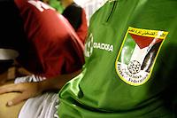 Pix:Simon Wilkinson/SWpix.com. First Islamic Solidarity Games, Jeddah, Saudi Arabia. Football, Saudi Arabia v Palestine 13/04/05...COPYRIGHT PICTURE>>SIMON WILKINSON>>01943 608782>>..The Palestinian soccer team