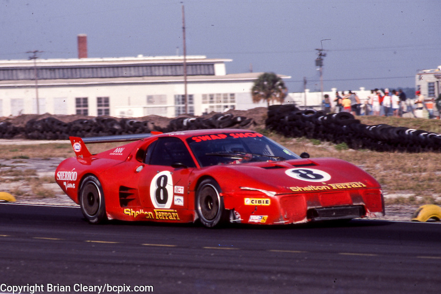 #8 Ferrari 512 of Steve Shelton, Tom Shelton, and Derek Bell (57th place )12 Hours or Sebring, Sebring International Raceway, Sebring, FL, March 19, 1983.  (Photo by Brian Cleary/bcpix.com)