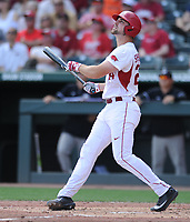 NWA Democrat-Gazette/ANDY SHUPE<br />Arkansas first baseman Chad Spanberger watches as a three-run home run leaves the park against Georgia Saturday, April 15, 2017, during the second inning at Baum Stadium in Fayetteville. Visit nwadg.com/photos to see more photographs from the game.