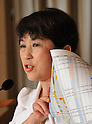 July 11th, 2011, Tokyo, Japan - Mizuho Fukushima, leader of Japans Social Democratic Party, outlines her party's action plan seeking to abolish all domestic nuclear power plants during a news conference at the foreign press club in Tokyo on Monday, July 11, 2011. The SDP has drawn up an action plan that seeks to abolish all domestic nuclear power plants by 2020. The move came one week before Germany declared that it will shut down all of its nuclear power plants by 2022 in the wake of the nuclear disaster at Fukushima No. 1 power plant, some 210km northeast of Tokyo. (Photo by Natsuki Sakai/AFLO) [3615] -mis-