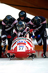 20 November 2005: Ivan Sola leads the Croatia 1 sled pushoff in the first run of the 2005 FIBT AIT World Cup Men's 4-Man Bobsleigh Tour, piloting the team to a 23rd place finish at the Verizon Sports Complex, in Lake Placid, NY. Mandatory Photo Credit: Ed Wolfstein.