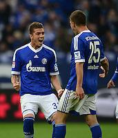FUSSBALL   1. BUNDESLIGA   SAISON 2012/2013    31. SPIELTAG FC Schalke 04 - Hamburger SV          28.04.2013 Torjubel: Roman Neustaedter (li) und Klaas Jan Huntelaar (re, beide FC Schalke 04)
