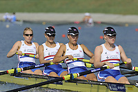 Brest, Belarus.  GBR BW4-, Bow, Jenny ARNOLD, Monica RELPH, Lottie HOWAED-MERRILL and Polly SWANN, at the start.  2010. FISA U23 Championships. Thursday,  22/07/2010.  [Mandatory Credit Peter Spurrier/ Intersport Images]