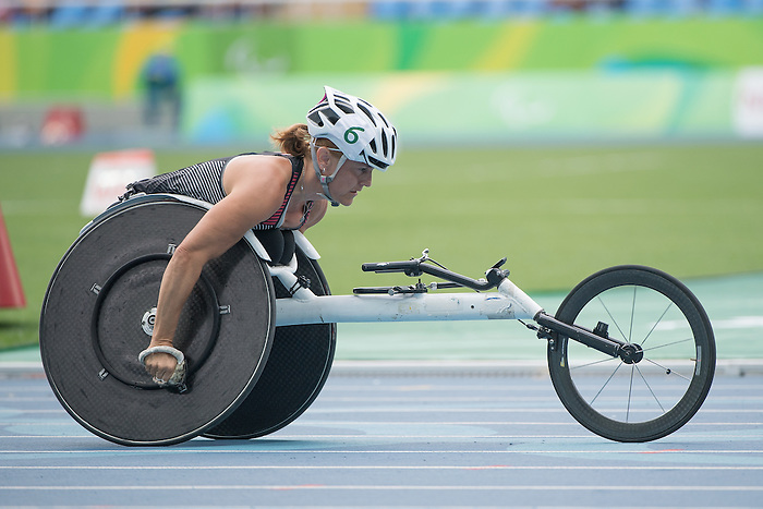 RIO DE JANEIRO - 11/9/2016:  Diane Roy competes in the Women's 400m - T54 Heat at the Olympic Stadium during the Rio 2016 Paralympic Games in Rio de Janeiro, Brazil. (Photo by Matthew Murnaghan/Canadian Paralympic Committee