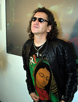 Mexican rock star legend Alex Lora poses for photographers during a press conference to announce a music tour to South America, September 4, 2006.   © Photo by Javier Rodriguez
