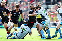 Billy Vunipola of Saracens takes on the Glasgow Warriors defence. European Rugby Champions Cup Quarter Final, between Saracens and Glasgow Warriors on April 2, 2017 at Allianz Park in London, England. Photo by: Patrick Khachfe / JMP