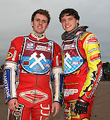 Martin Pearce and Adam Sheppard of Lakeside Young Hammers - Lakeside Young Hammers vs Mildenhall Fen Tiger Cubs, Anglian Junior League Speedway at the Arena Essex Raceway, Pufleet - 04/05/12 - MANDATORY CREDIT: Rob Newell/TGSPHOTO - Self billing applies where appropriate - 0845 094 6026 - contact@tgsphoto.co.uk - NO UNPAID USE..