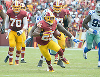 Washington Redskins running back Chris Thompson (25) carries the ball for a long gain in the second quarter against the Dallas Cowboys at FedEx Field in Landover, Maryland on Sunday, September 18, 2016.  The Cowboys won the game 27 - 23.<br /> Credit: Ron Sachs / CNP /MediaPunch